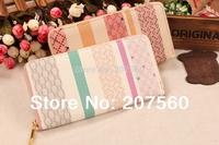 Hot sale!Fashion pentagram grid stripe color women zipper wallets, ladies clutch purse wallets