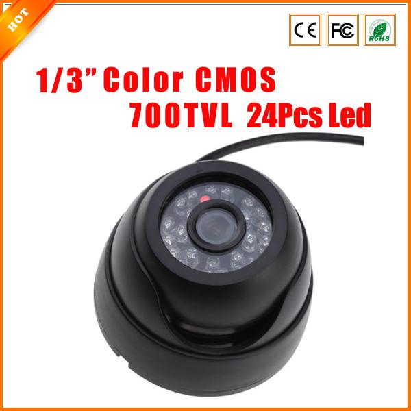 "Free Shipping 1/3"" Wide Angle 700 TVL 24Pcs IR LED Color Indoor Dome CCTV Security Camera CMOS Security Camera(China (Mainland))"