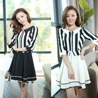 2014 new spring and summer fashion striped women dress Korean version of Slim  ladies temperament dress High quality