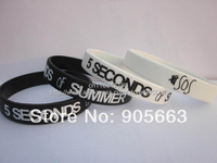 5 SECONDS of SUMMER wristband,5 SOS silicone bracelet,2 colours,custom design,promotion gift,100pcs/lot,free shipipng