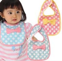 2014 Fashion Baby Bibs Infant Saliva Towels Baby Waterproof Bib Polka Dot Bow Pattern Free Shipping