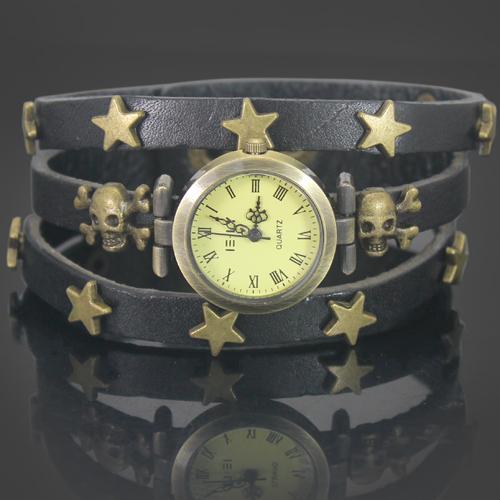 Black Quality Punk Star Fashion Ladies Girls Faux Leather Vintage Style Jewelry Bracelets Gifts Quartz Wrist