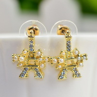 free shipping 2014 new CZ diamond earring eiffel tower drop earrings wedding accessories