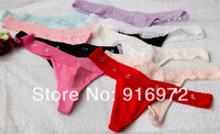 Hot sale  women cotton with lace  G-strings  women colorful Sequins Panties  12.48$ /5pcs Free shipping