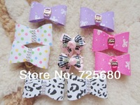 5 pairs=10 PCS/LOT white pink purple HANDMADE PET DOG ACCESSORIES GROOMING HAIR BOWS RUBBER BAND