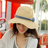 Fashion F style Blue Belt Beige Straw Sun Hat Women Sun-block Caps Hats Beach Summer Vacation Beach Girl Jazz Cap Free Shipping