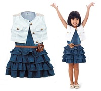 2014  new girl summer clothes, girls clothing princess dress, jeans dress,casual dress free shipping