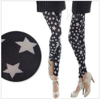 Free Shipping 2014 doodle ankle length leggings star print fashion leggings