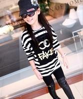 2014 girls kid dress bat sleeve stripe package hip skirt bottoming shirt long section of children's clothes t-shirt