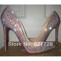 12cm Crystal Pointed Toe Bridal Shoes,Rhinestone Wedding Shoes Genuine Leather Shoes Free Shipping