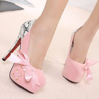 2013 TOP QUALITY SEXY FASHION HIGH HEELS BOW WEDDING BANQUET PINK BLUE BLACK WOMEN'S SHOES LADY PUMP,FREE SHIPPING
