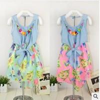 2014 Girls Floral Dress Korean fashion denim stitching chiffon print dress, free shipping