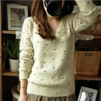 2014 autumn and winter sweater women mohair slim polka dot butterfly basic shirt turn-down collar sweater outerwear