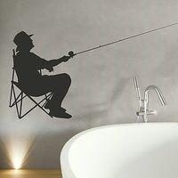 Fisherman Fishing Vinly Wall Sticker  Wall Decal Art  Home Decor