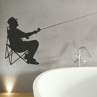 Fisherman Fishing Vinly Wall Sticker  Wall Decal Art  Home Decor