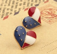2014 New Fashion Jewelry women Stud Earrings European and American style National flag Heart pattern Wholesale