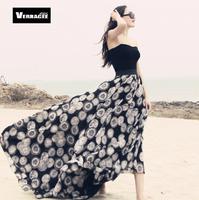 Verragee 2014 Summer Autumn Vintage Elegant  Dot Print Slim Beach Plus Size Chiffon Long Skirts Maxi Midi Skirt  Sheer Skirts