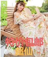 Free shipping+ Summer bohemia slit neckline plus size beach dress full dress chiffon one-piece dress
