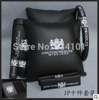 Auto upholstery jp pillow headrest shoulder pad steering wheel cover cd plate handbrake covers gears sets 10 piece set universal
