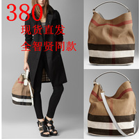 B women's handbag Medium plaid canvas hobo bag handbag messenger bag shoulder bag bucket bag