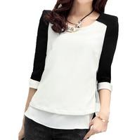 2014 spring women's elegant chiffon shirt o-neck basic color block decoration  top shirt female plus size M-XXL