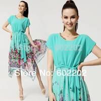 New 2014 Summer Women's  Fashion Vintage Style Plus Size Elegant Irregular Floral Print Knee-Length Chiffon Party Dresses Green