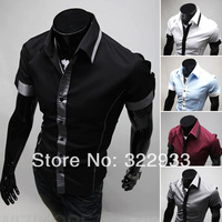 ALIEXPRESS Summer NEW Men's Slim Luxury Stylish gray Dress Shirts,fashionable long-sleeved Shirts free ship Short Shirts FOR MEN