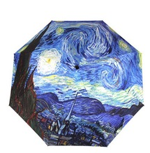 2014 Free Shipping oil painting Vincent Van Gogh Starry Night sun rain Umbrella 3 Fold  Anti UV fashion hot selling abstract art(China (Mainland))