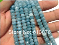 5x8mm Brazilian Aquamarine Gemstone Faceted Abacus Loose Beads 15''