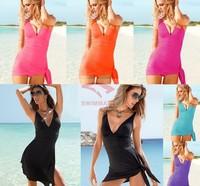 New Sexy one piece skirt swimwear for women, high waist swimsuit With Pads plus size Monokini women's biquinis for Brazilian