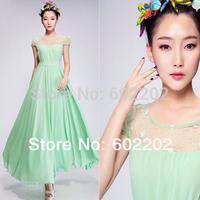 New Arrival 2014 Summer Plus Size XL Fashion Korean Bohemian Maxi Long Beach Chiffon Lace Party Dress Women Green,White