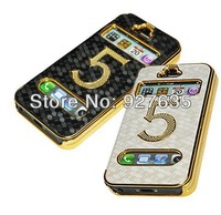 TOP & HOT SELL!Gold plating flip cover leather case for iphone5 5s,High-grade gold football grain case for iphone5 5s,50pcs/lot