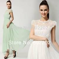 Women's New 2014 Summer Fashion Plus Size XL Sexy Elegant Slim Short-sleeve Wear Lace Chiffon Maxi EVENING Wedding Dress