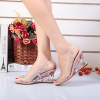 2014 Fashion Show high quality Transparent brand shoes Ladies bohemia crystal sandals open toe wedges shoes for women summer Ai1