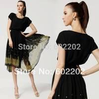 New 2014 Summer Women's Vintage Style Fashion Plus Size Elegant Irregular Floral Print Knee-Length Chiffon Gown Party Dress