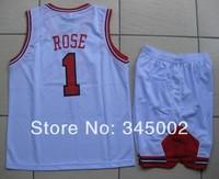 Chicago #1 Derrick Rose Kids/youth white Basketball Jerseys with shorts,2014 baby/boys/children basketballer uniform Kits