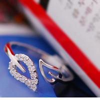 Korean Fashion Two Leaves Ring Women Crystal Rings Silver Ring Gold Ring RD-J028