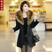 Winter 2013 water washed leather clothing slim plus cotton thickening outerwear women's black large fur collar