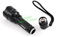 High Quality UltraFire Torch C8Q5 250 lumens Zoomable LED Flashlight Torch light outdoor lighting 2pcs