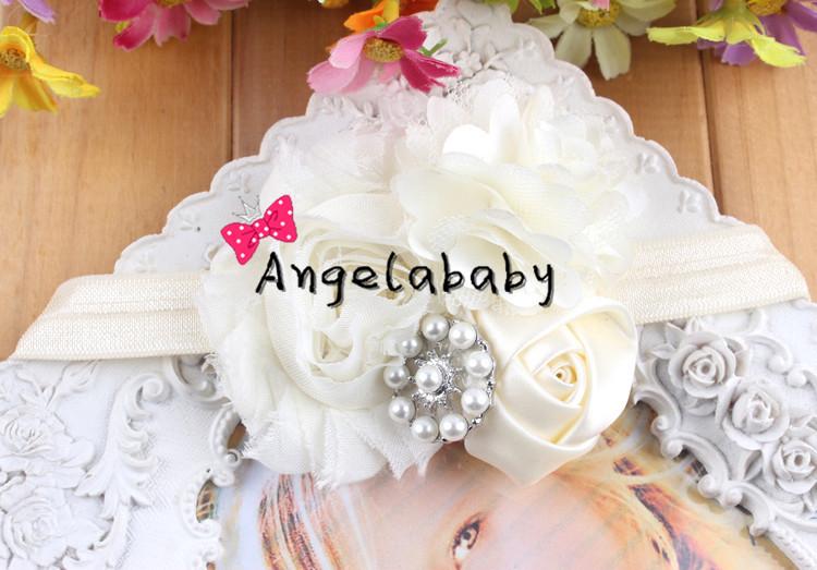 Ivory Baby Girls Flower Headbands Infant Toddlers Headbands Chiffon Shabby Flower Hairbands 40pcs/lot(China (Mainland))