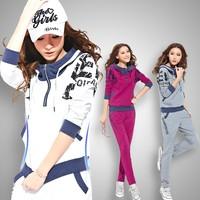 2014 spring cartoon sweatshirt set female loose o-neck long-sleeve slim casual sportswear plus size