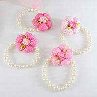 New 2014 arrival wholesale 20 pieces/lot kids sunflower pearl beaded bracelet&bangle baby bracelet hair accessories