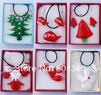 Free shipping !! 2014 Hot sale!! Christmas style murano glass necklace and earring set