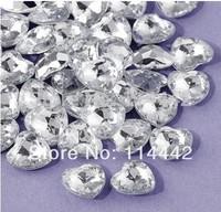 Free Shipping ! 1000 pcs / lot 12mm Acrylic Silver  Heart Shape Wedding /  Valentines Table Diamond confetti