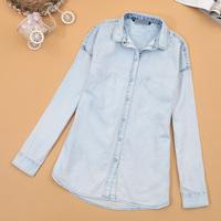 Women's denim shirt cardigan water wash fabric super soft women's denim coat thin basic