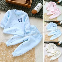 Winter baby set small clothing baby thermal underwear set at home set hollow cotton three-color