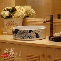 Jingdezhen ceramic wash basin full basin straight barrel washbasin fashion counter basin blue and white