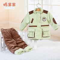 Cotton winter thermal baby boy cotton-padded jacket set velvet baby wadded jacket child thickening