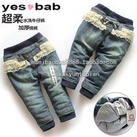 Fashion child winter female jeans trousers casual pants trousers thickening warm pants trousers children's pants
