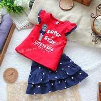 Skirt set butterfly sleeve five-pointed star skirt set child summer clothing female set